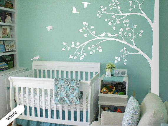white tree wall decal huge corner tree with leaves and birds nursery decor large tree mural. Black Bedroom Furniture Sets. Home Design Ideas