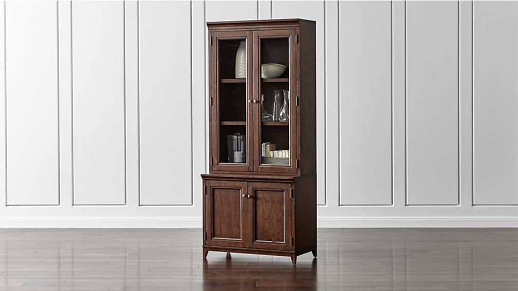 Harrison 2 Pc Cherry 36 Bookcase With Glass Doors Crate And Barrel