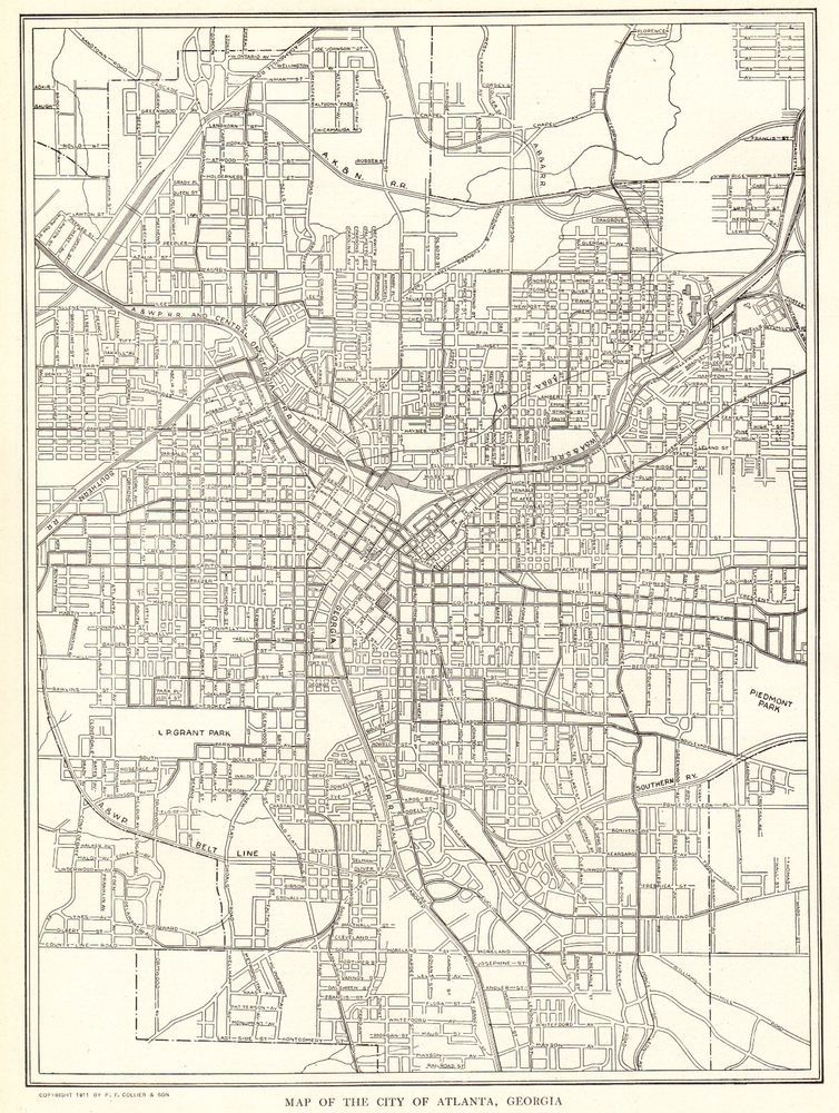 1917 Antique MAP of ATLANTA Georgia Original Vintage Atlanta Map