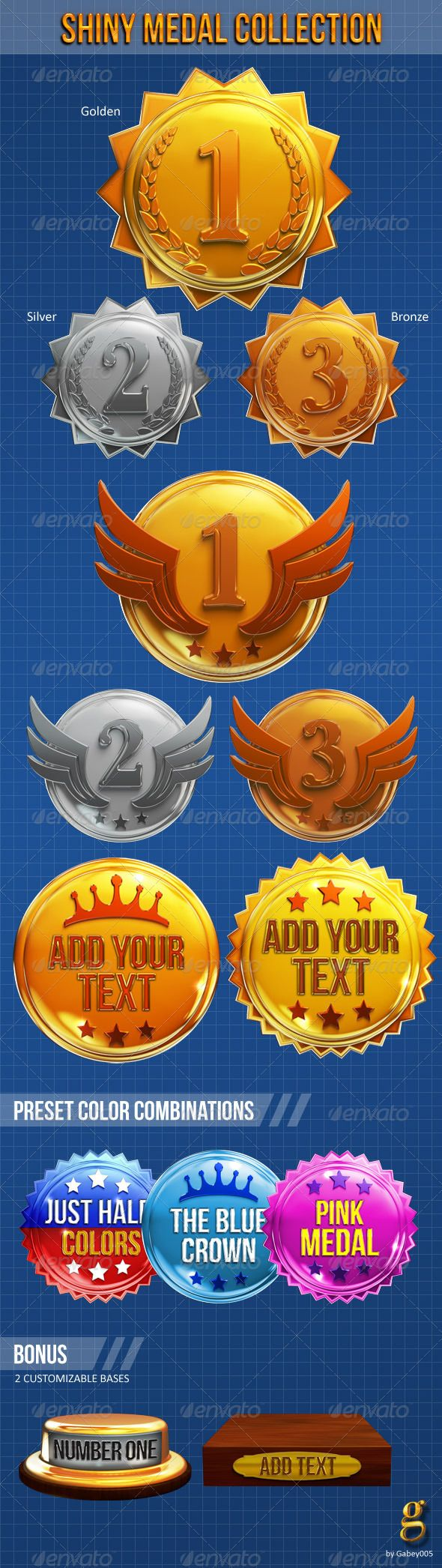 Shiny Medal Collection by Gabey005 Super shiny medal collection in high resolution 3000×3280 px. Includes 6 numbered medals (1st,2nd,3rd) and two with customizable t