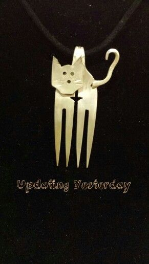 Fork sliver plate cat jewelry