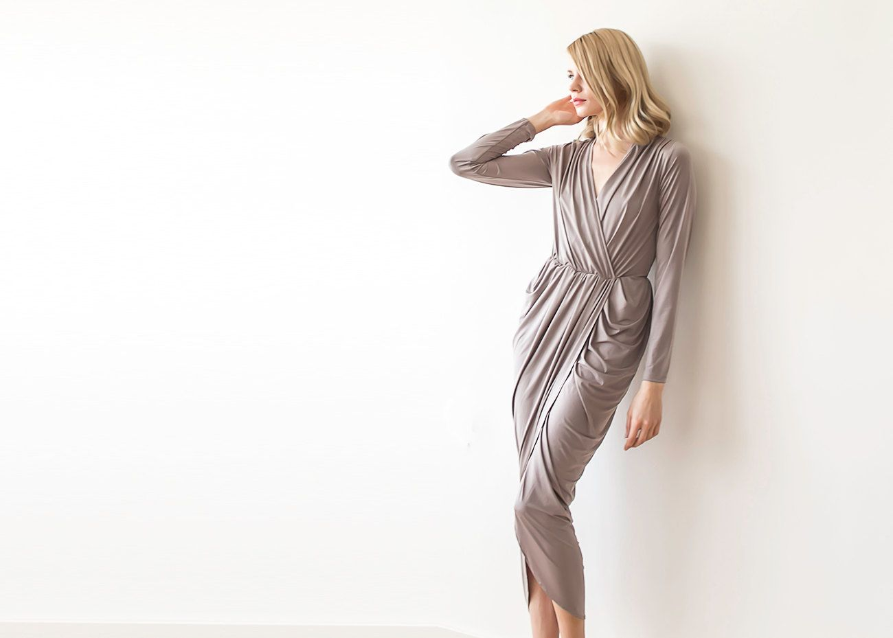 Formal taupe maxi wrap dress with long sleeves, Wrap formal taupe gown by BLUSHFASHION on Etsy https://www.etsy.com/listing/223735617/formal-taupe-maxi-wrap-dress-with-long