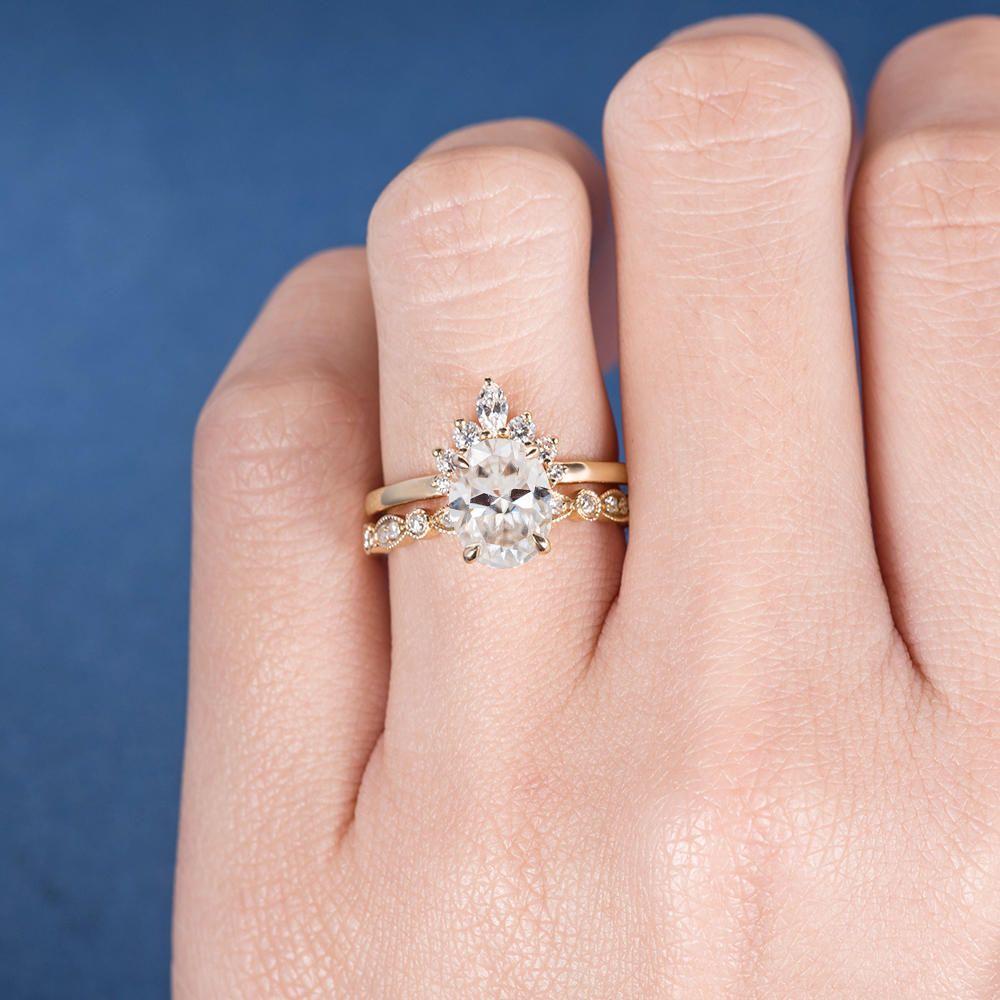 Unique Moissanite Engagement Ring Set Rose Gold Marquise Diamond Art ...