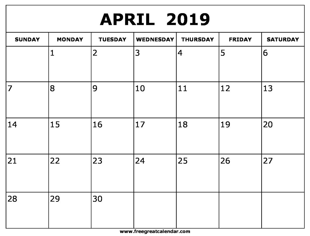 image about April Free Printable Calendar named Printable April 2019 Blank Calendar Printable Regular