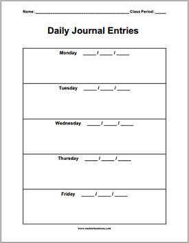 daily journal sheet great for bell work question of the day etc