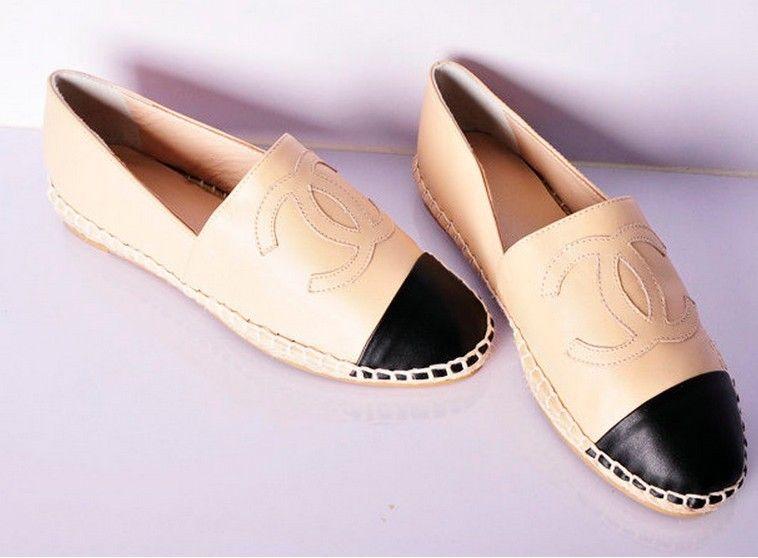 Chanel CC Logo Leather Espadrilles Flats Apricot Shoes for Women ...