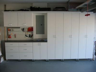 white melamine garage cabinets