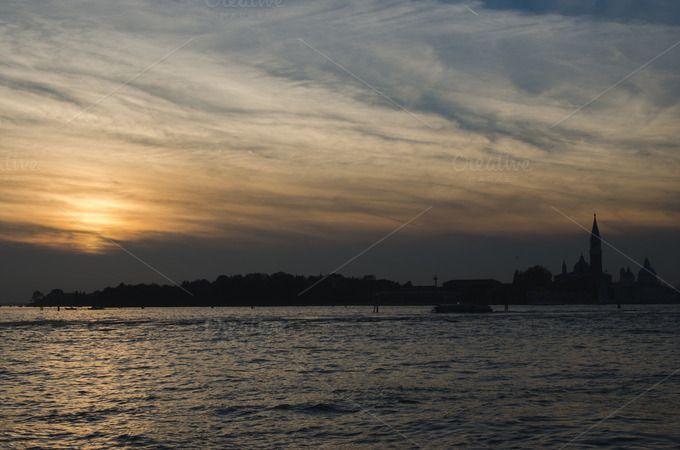 Orange sunset in Venice by Dreamy Pixel on Creative Market