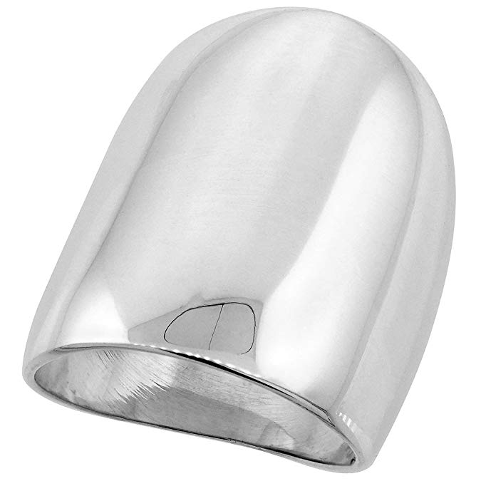 925 Sterling Silver Polished Cigar-band Ring Size 6-8