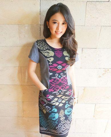 Color Blocked Dress Black | batik kultur