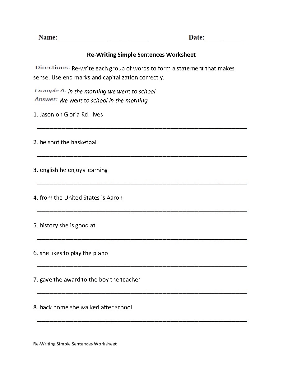 Re Writing Simple Sentences Worksheet [ 1188 x 910 Pixel ]