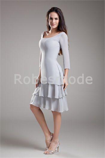 4b987ffa4f604 Robe mère de mariée argent mi-longue en mousseline de soie manches à 3 4  longuuer