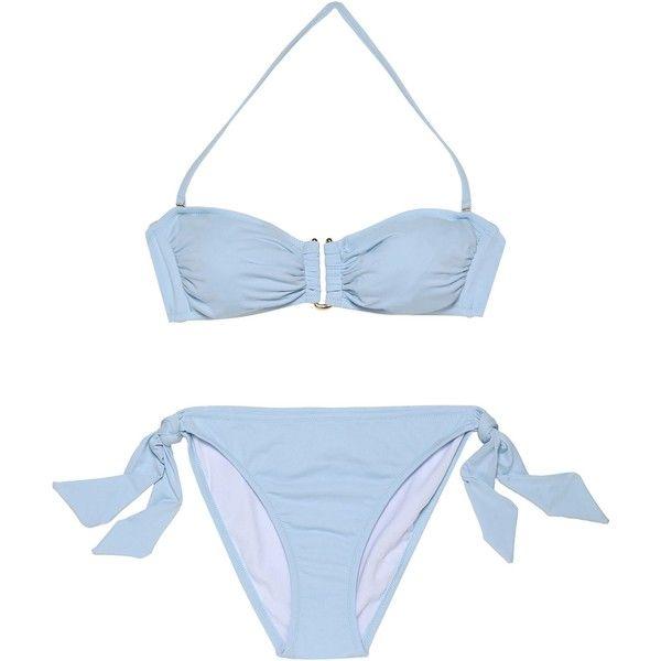 Iris & Ink Ruched bandeau bikini (€68) ❤ liked on Polyvore featuring  swimwear
