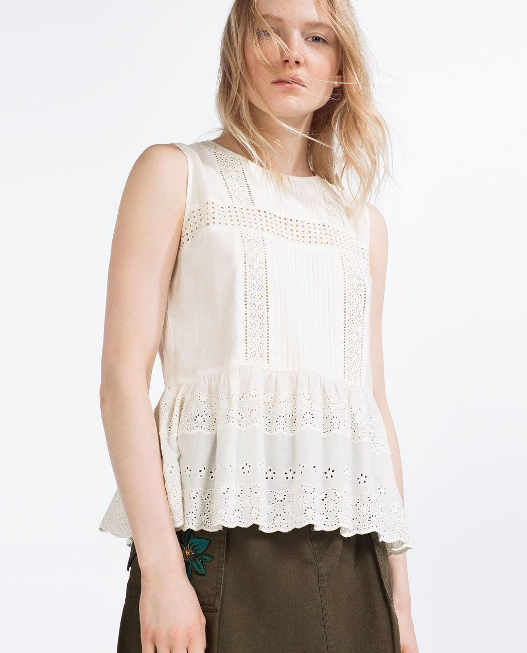 CONTRAST LACE TOP-View All-TOPS-WOMAN | ZARA Japan