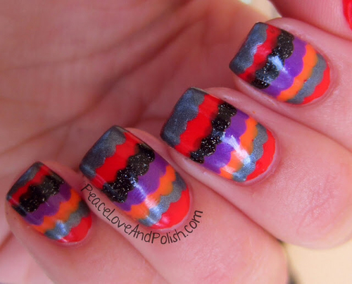 Halloween nails , http://www.amazon.com/dp/B007FMC8I8/?tag=googoo0f-20 #holiday -  #zigzag