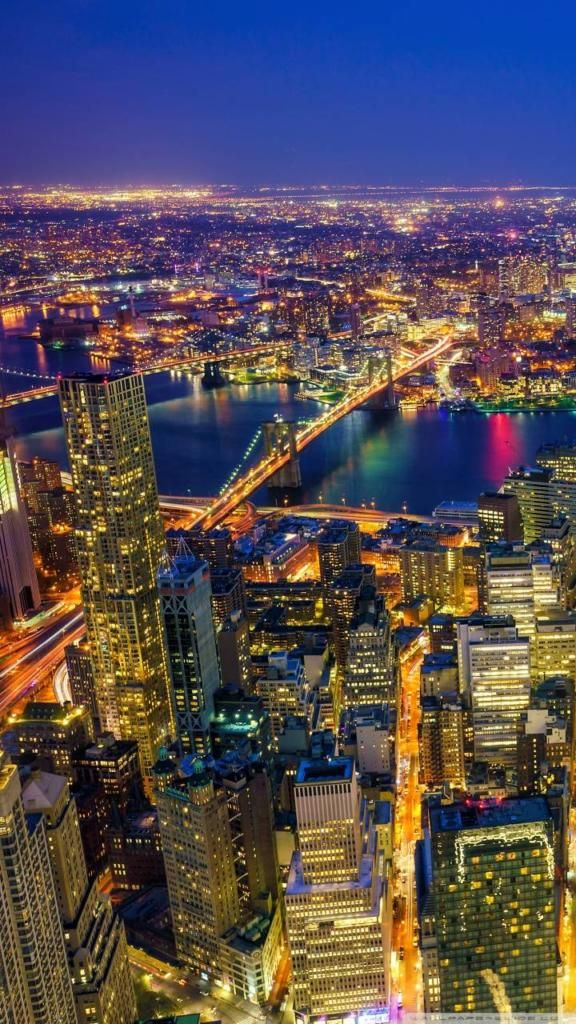iPhone X 4K Wallpapers new york city manhattan at night ...