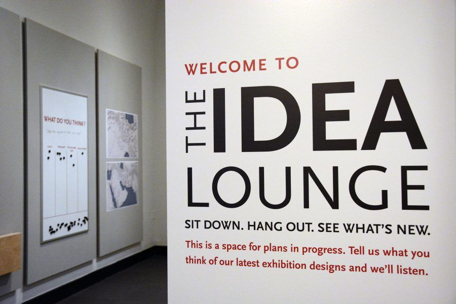 The Entrance To The New Idea Lounge In The Penn Museum S Third Floor Special Exhibitions Gallery Museum Exhibition Design Exhibition Design Office Wall Design