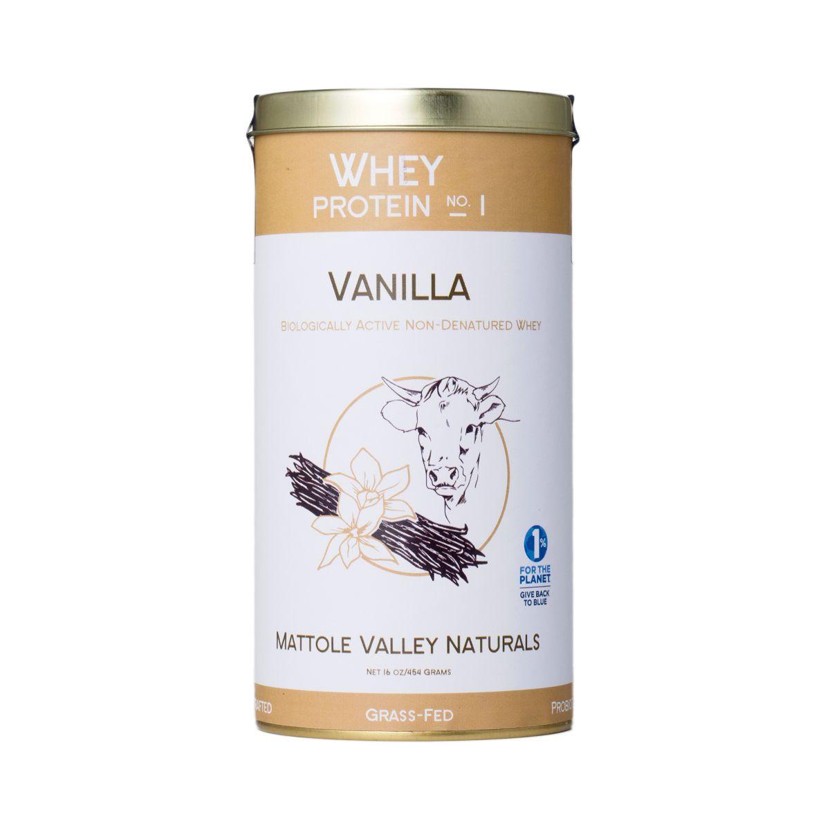 Mattole Valley Naturals Vanilla Whey Protein Powder No.1 16 Oz Container
