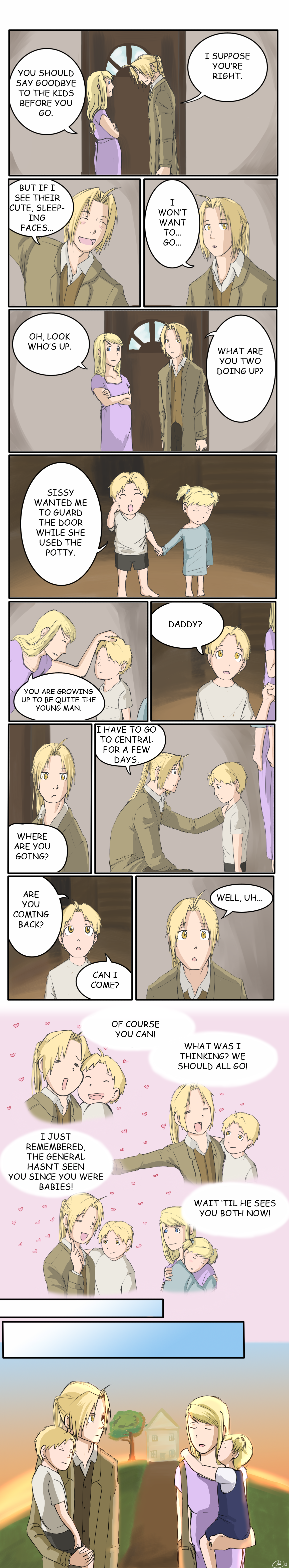FullMetal Alchemist Omake: Family Vacation by Perfectlykawaii93.deviantart.com    Ah, almost a parallel of Hoho and Trisha, but Ed does it RIGHT!