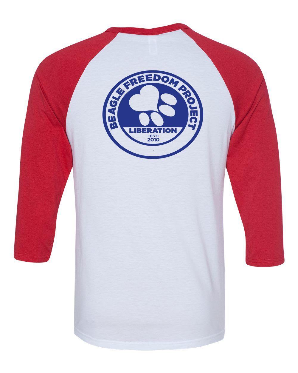 Beagle Freedom Project FTLA Apparel Unisex Red Sleeves Baseball Tee Life Love Liberty