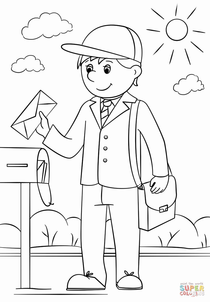 Free Coloring Books By Mail Beautiful Mail Carrier Coloring Page Cartoon Coloring Pages Coloring Books Coloring Pages