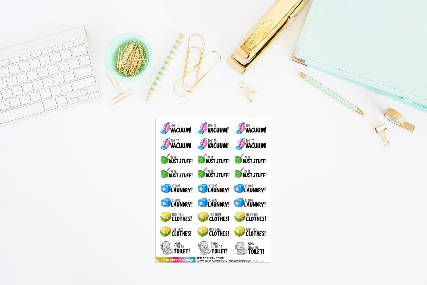 Time to Clean Stuff Planner Stickers | Cleaning Planner Stickers | Planner Stickers (27 Stickers) by TheCleverDesign on Etsy