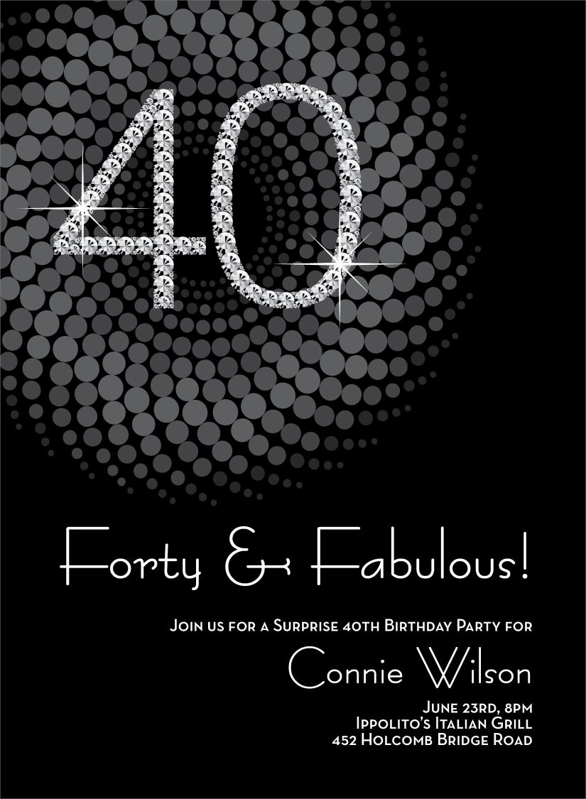 Diamond Numbers 40th Milestone Birthday Invitations | Stuffing, 40 ...