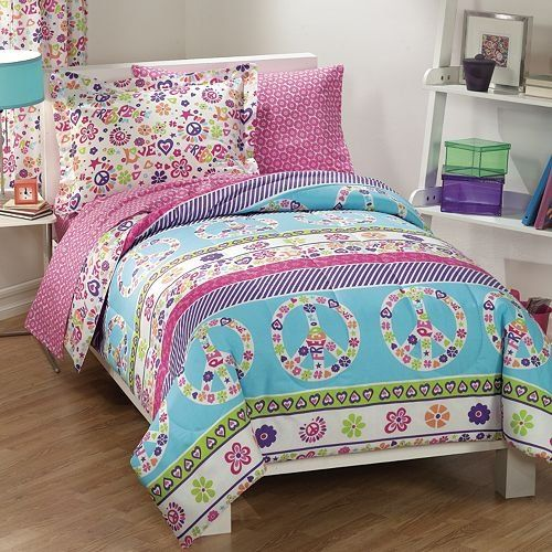 Superbe $55.56 $69.98 Baby Peace Signs Multicolor Girls Comforter Set   Peace And  Love Full Bed