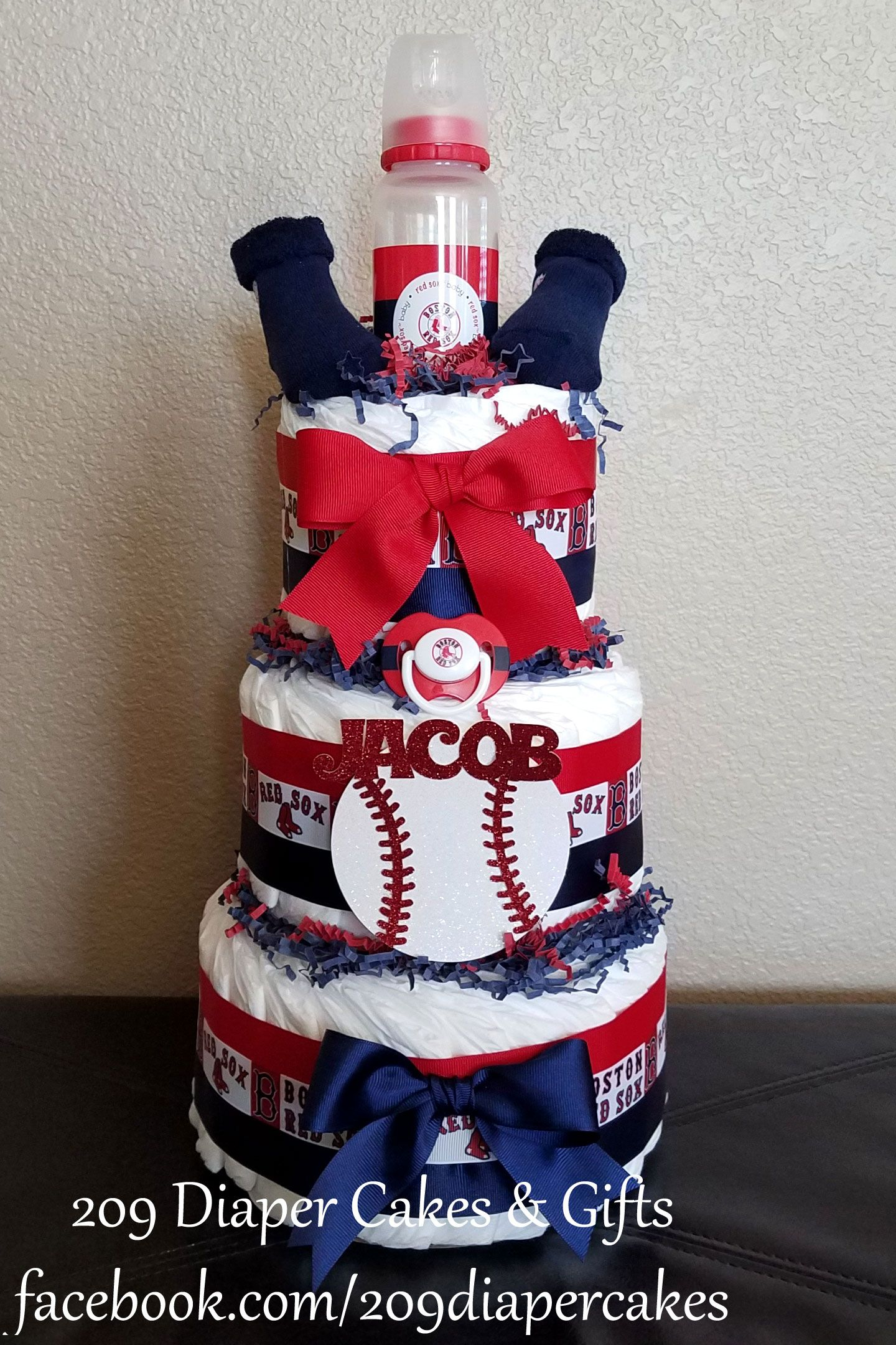 Red White and Blue Boston Red Sox 3-Tier Diaper Cake by 209 Diaper Cakes & Gifts - facebook.com/209diapercakes