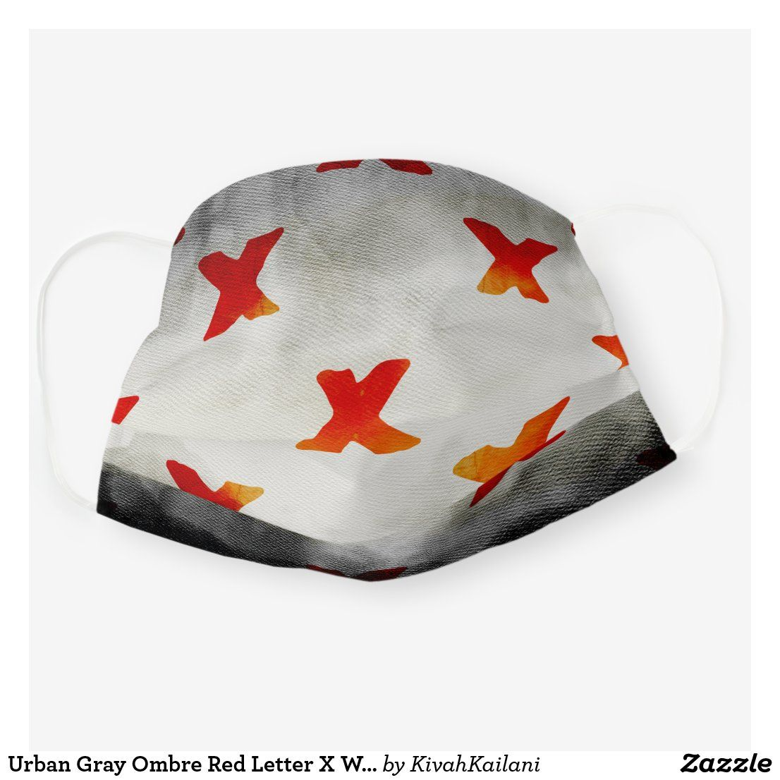 Urban Gray Ombre Red Letter X WAtercolor Cloth Face Mask
