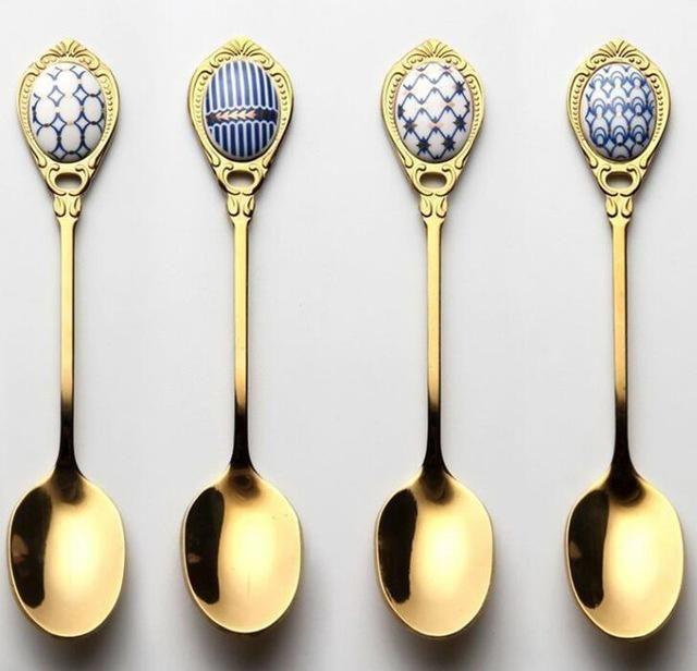 4Pcs Vintage Stainless Steel Dinner Fork Spoon Tea Spoon Set