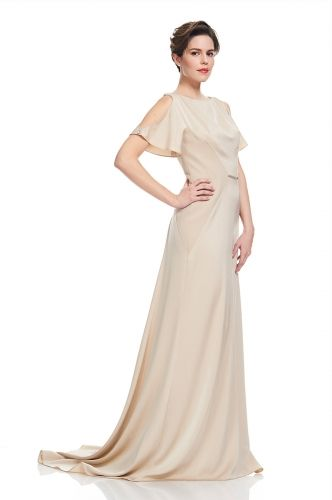 KAY UNGEREPIC ROMANCE GOWN$540Crepe back satin gown with open shoulders and crystal detailing.Dresses shop boutique.