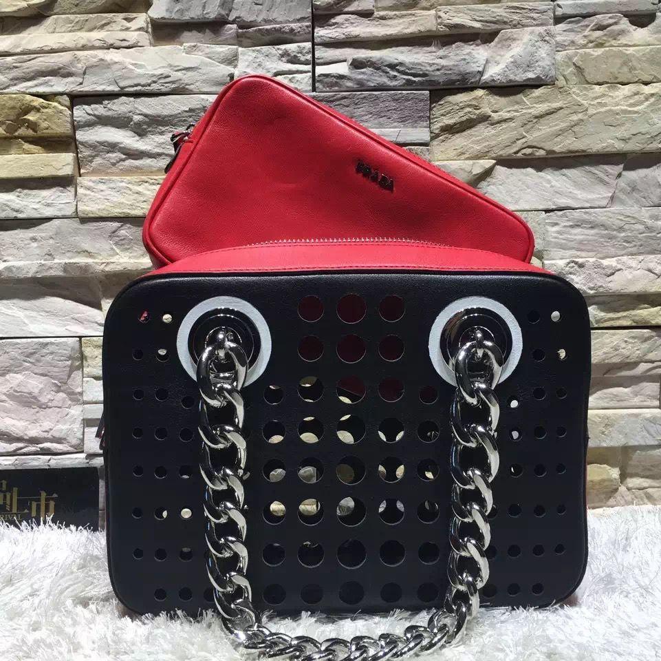 ab3f7eaeef Prada Perforated City Fori Chain Shoulder Bag Red Black Resort 2016 ...
