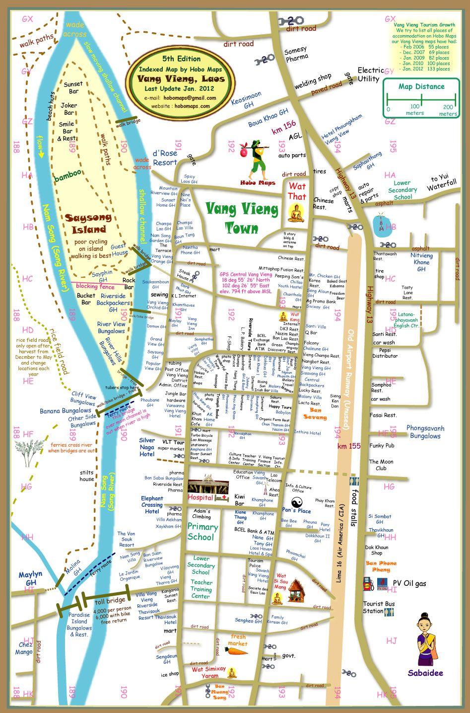 Vang Vieng Town Map | Laos, Laos travel, Map