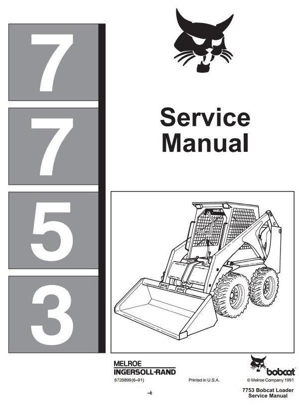 Bobcat Skid Steer Loader Type 7753 Workshop Service Manual Rhpinterest: Wiring Diagram For Bobcat 853 At Gmaili.net