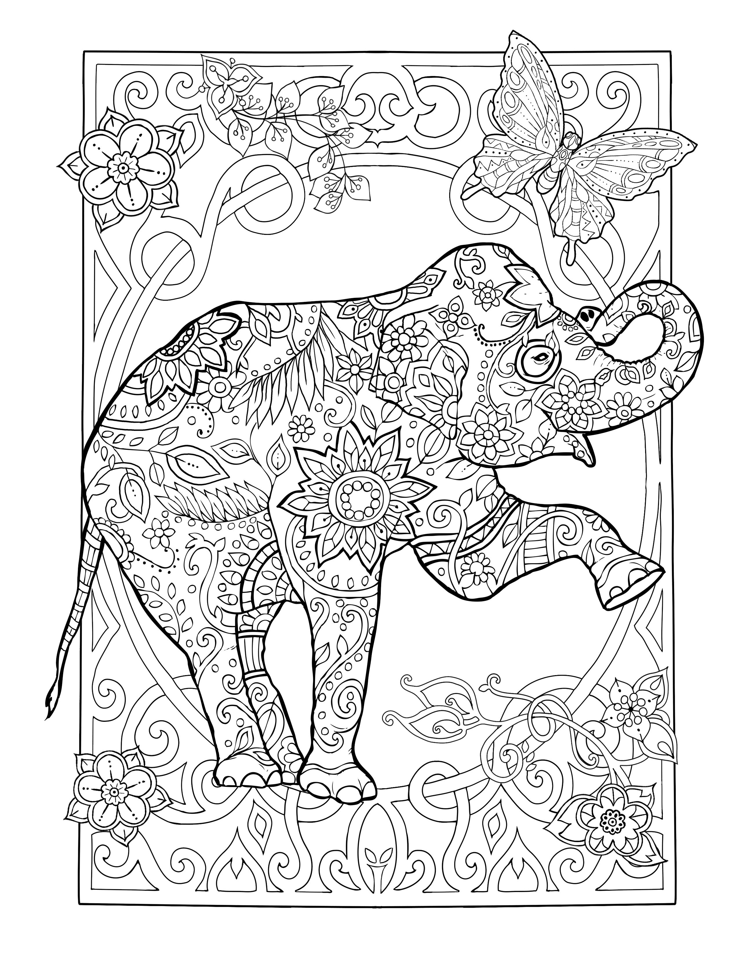 Amazing Coloring Book For Adults Packed With Beautiful Animals Elephant Coloring Page Coloring Books Animal Coloring Pages