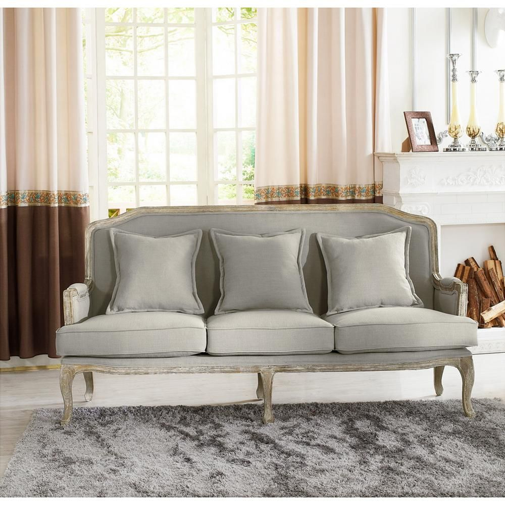 Bon Constanza French Inspired Beige Fabric Upholstered Sofa