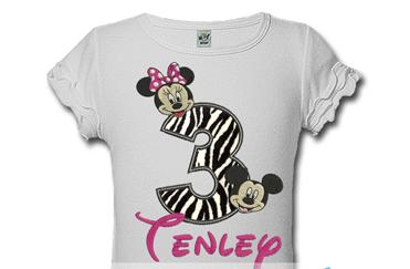 Zebra Print Mickey And Minnie Personalized Kids Birthday Shirts Tutusweetshop