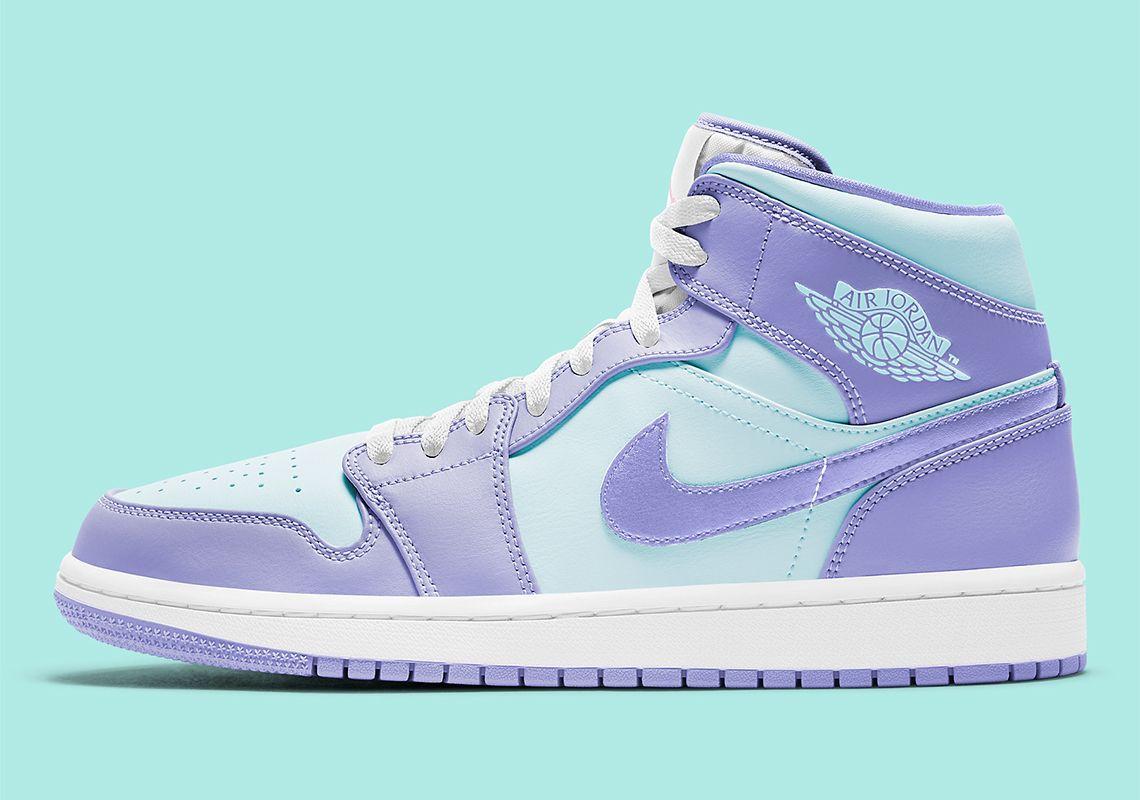 Air Jordan 1 Mid Purple Aqua 554724-500   SneakerNews.com in 2021 ...
