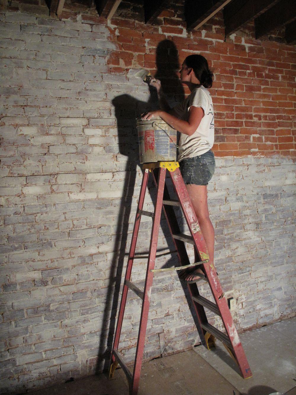 How To Whitewash Brick White Wash Brick Painted Brick Walls Diy Brick Wall