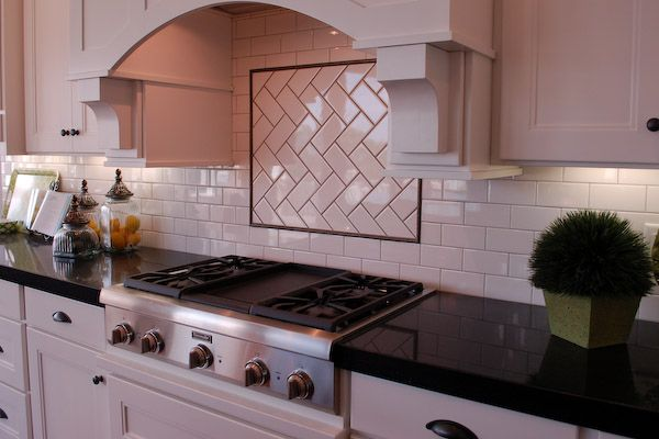 Tile backsplash white heringbone using the black line for Subway tile backsplash behind stove