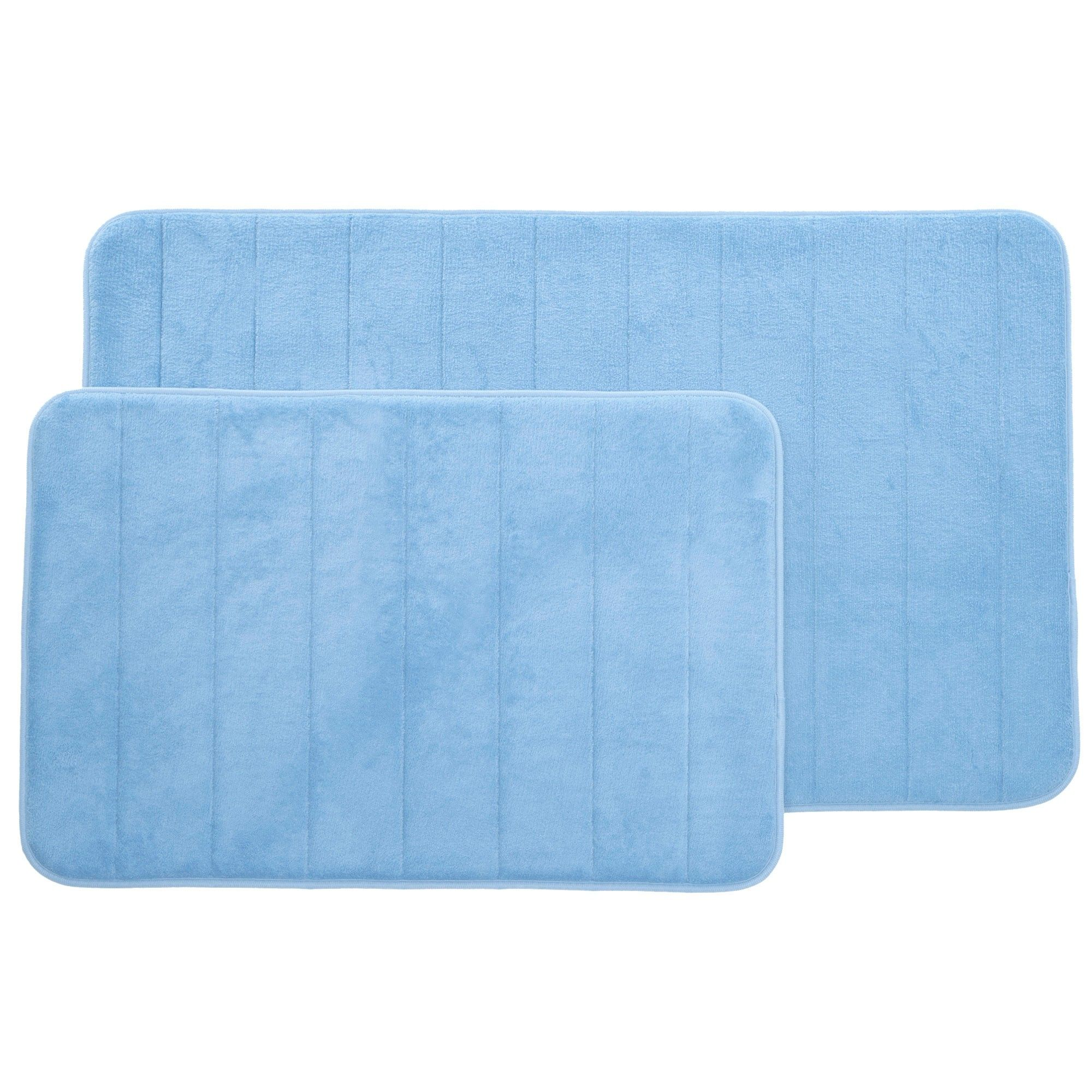Stripe Memory Foam Striped Bath Mat Set Blue Yorkshire Home