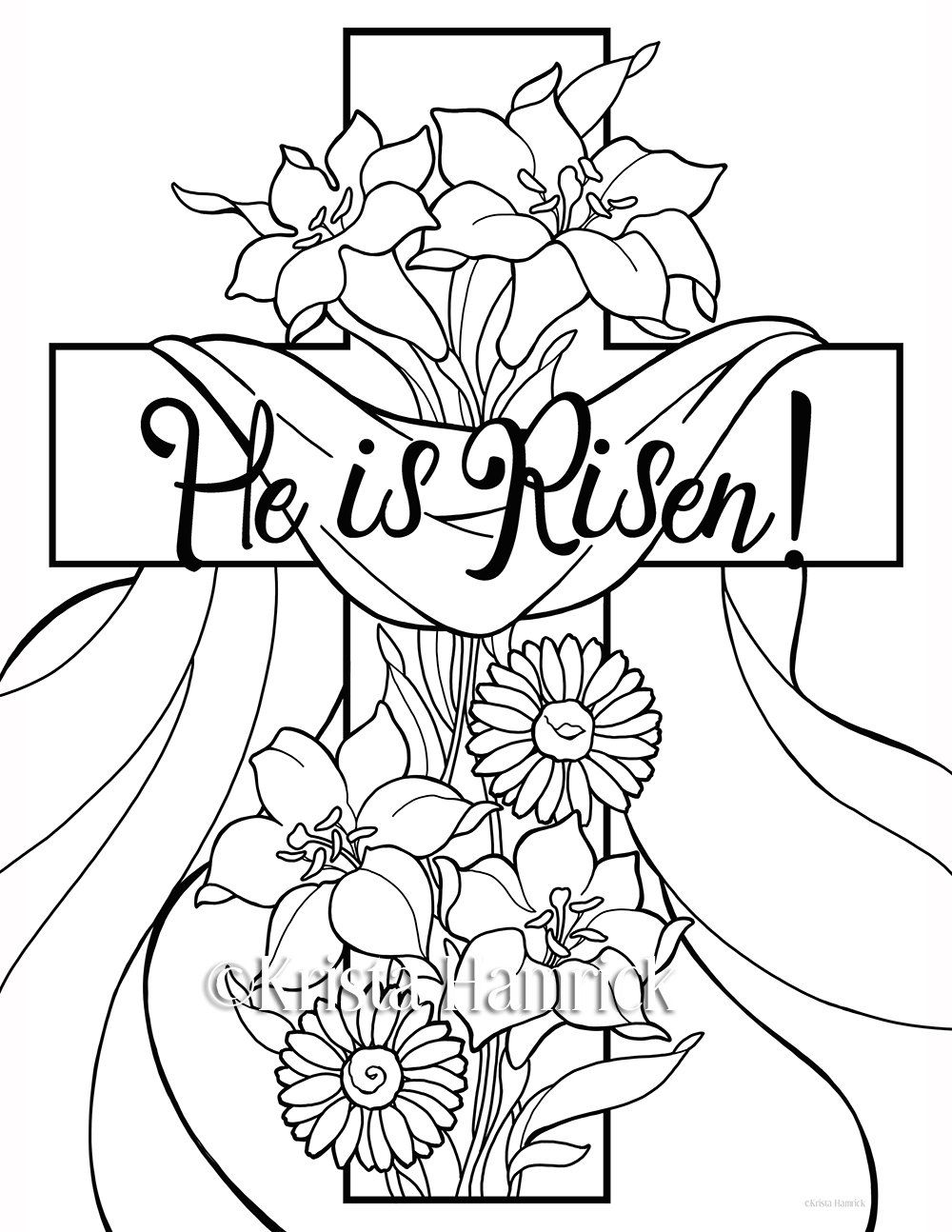 He is Risen! 2 Easter coloring pages for children Easter