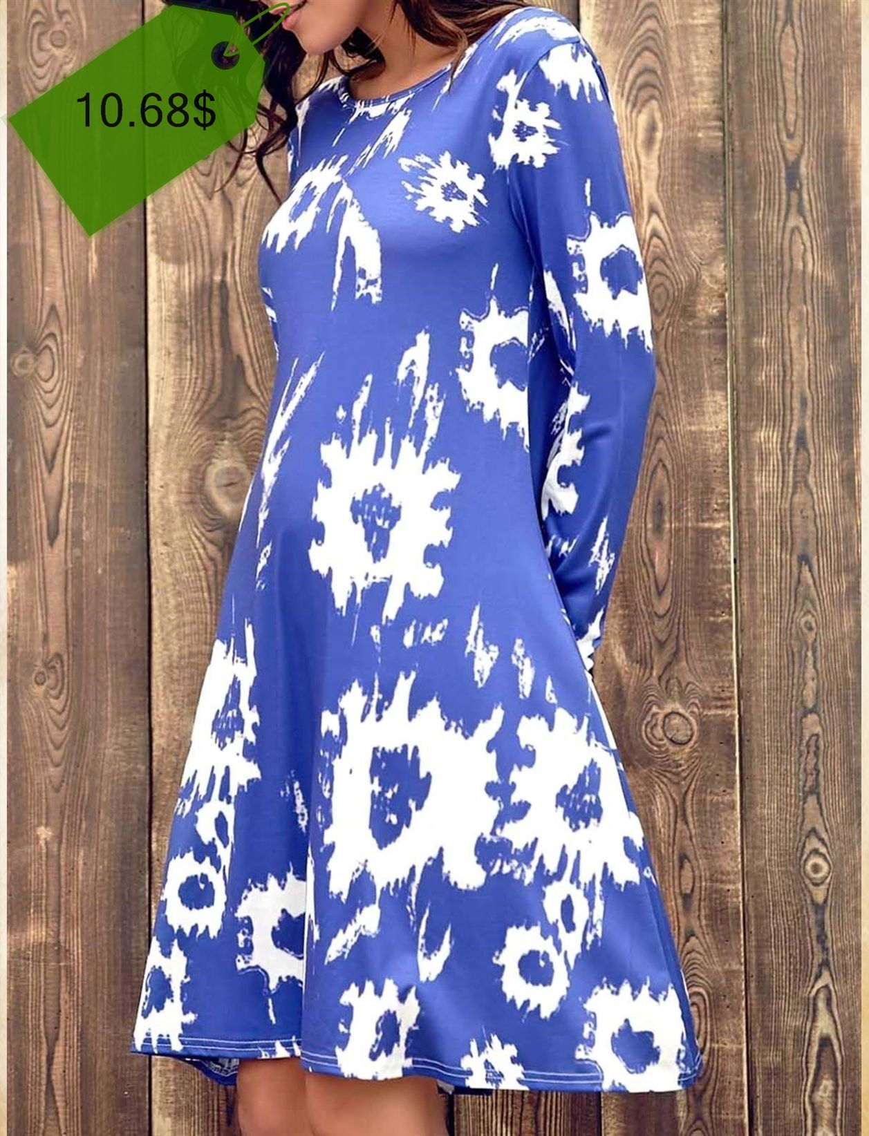 Chic Jewel Long Sleeve Abstract Printed T-Shirt Dress For Women