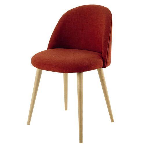 Stuhl Im Vintage Stil Aus Stoff Und Massiver Birke, Korallenrosa