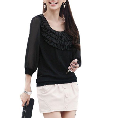 Black Ruffles Embellished Scoop Neck Shirt for Woman S