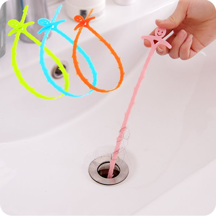 3pcs! Smile Design Colorful Toilet Kitchen Sewer Pipe Blockades Cleaning Plastic Drain Plunger Hooks cleaning supplies