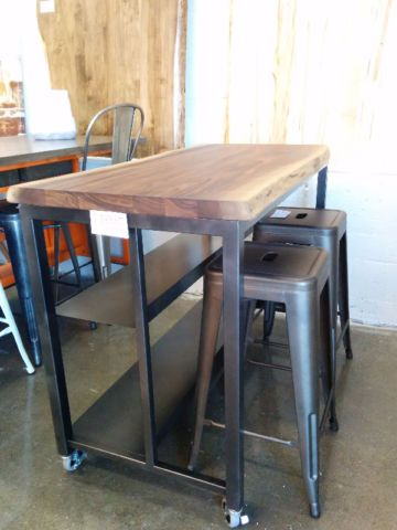 Walnut Kitchen Island on wheels 24x48