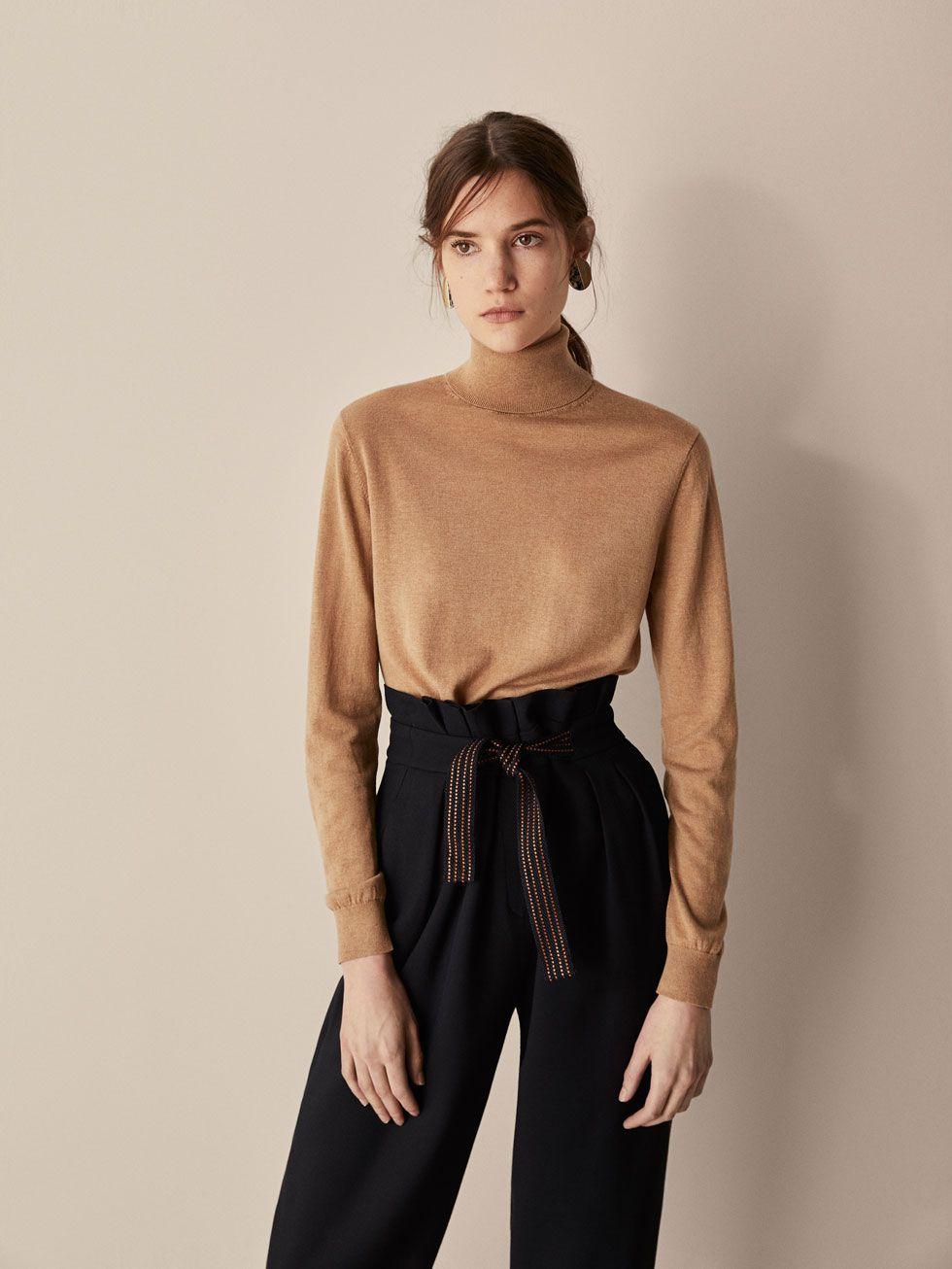 Pullover Aus Seidewolle Damen Unifarbener Massimo Dutti Nv8n0mwO