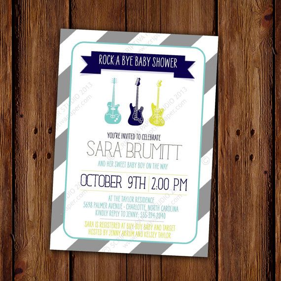 Rock A Bye Baby Shower Invitation Guitar Music By